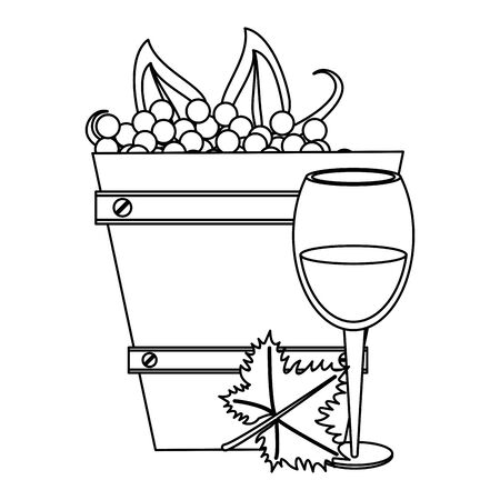wooden bucket with bunch of grapes and cheese over white background, vector illustration