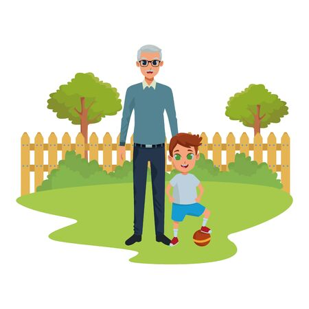 grandson and grandfather with holding hands isolated in nature park outdoors scenery background ,vector illustration graphic design.