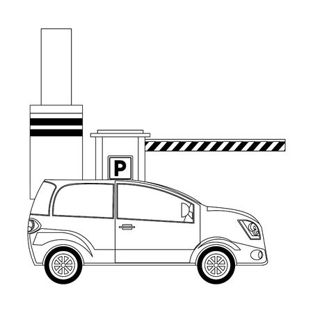 Car on a parking entrance with security barrier gate and parking ticket machine over white background, vector illustration 일러스트