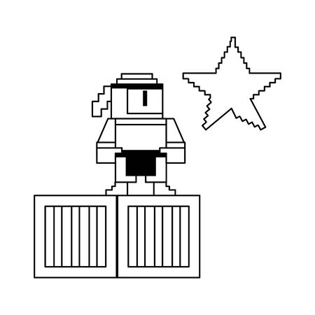Videogame pixelated ninja character on boxes with star vector illustration graphic design