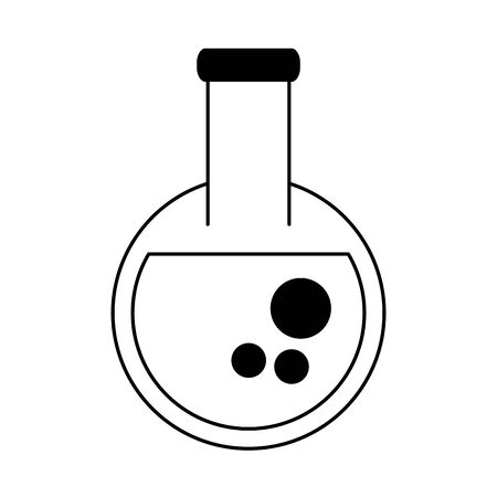 chemistry element beaker cartoon vector illustration graphic design in black and white Illustration