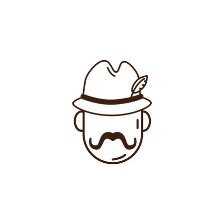 man with oktoberfest german hat celebration isolated icon vector illustration design