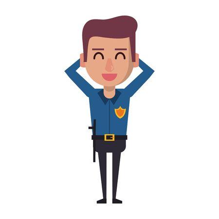 policeman smiling avatar cartoon character vector illustration graphic design