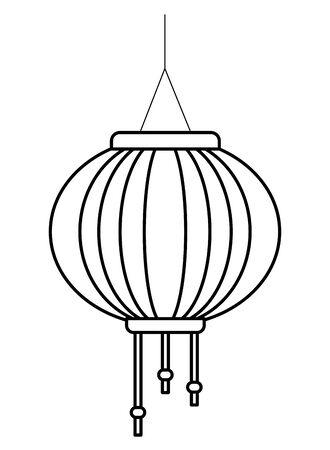 Chinese paper lantern hanging light ,vector illustration graphic design. Çizim