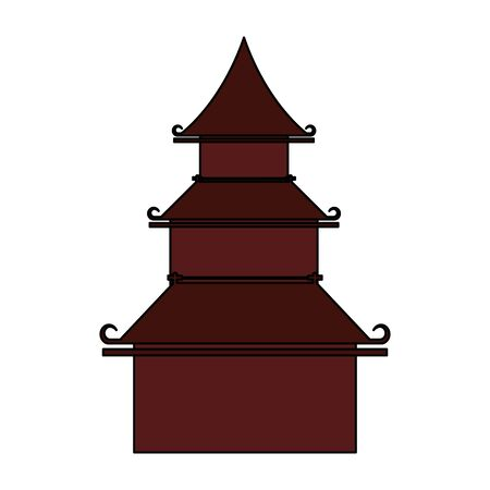 chinese oriental asian building cartoon vector illustration graphic design