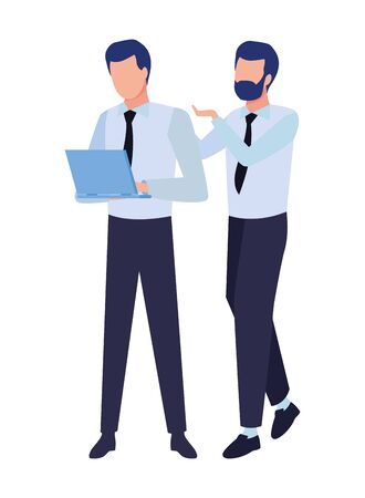 Successful businessmen working with office laptop colorful isolated faceless avatar vector illustration graphic design