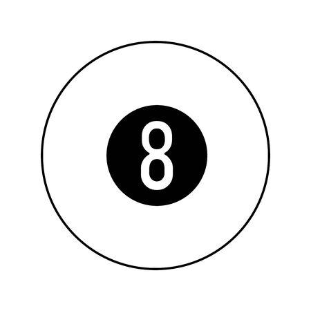 eight billiard ball icon over white background, vector illustration Illustration