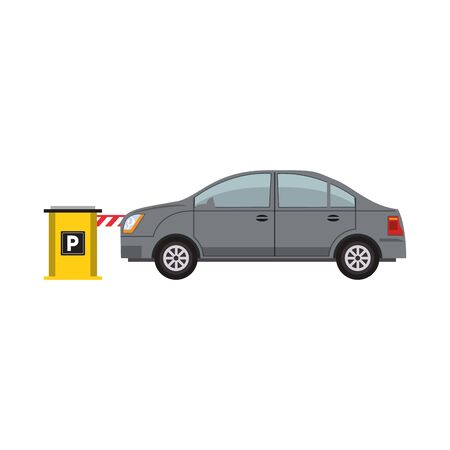 car on a Parking entrance with security barrier over white background, colorful design. vector illustration