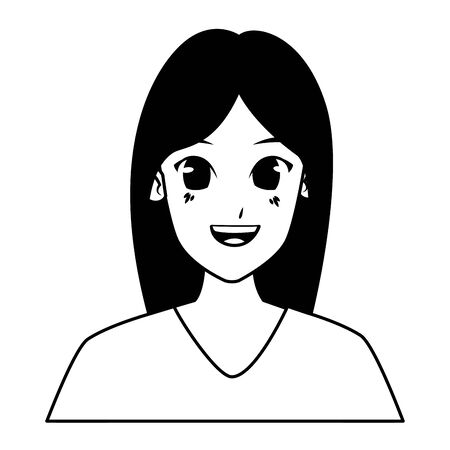 Young woman face smiling cartoon vector illustration graphic design