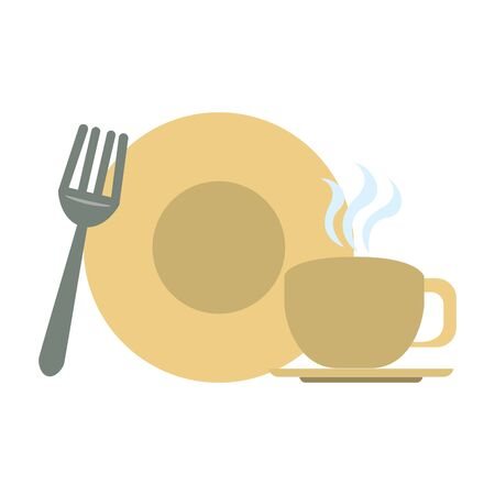 restaurant food and cuisine plate with coffee cup and fork icon cartoons vector illustration graphic design
