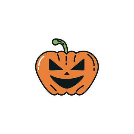 halloween pumpkin character flat icon vector illustration design