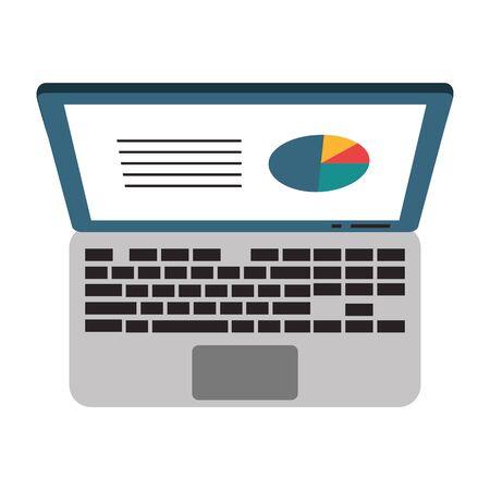 Laptop with business statistics profit symbol vector illustration graphic design Çizim