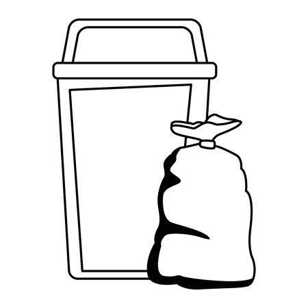green garbage can and bag icon cartoon in black and white vector illustration graphic design Ilustração
