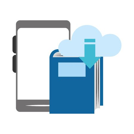 smartphone with cloud storage and book over white background, vector illustration Illusztráció