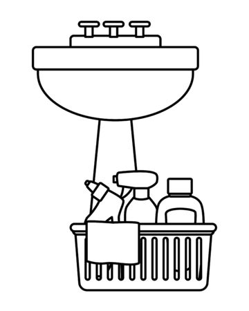 cleaning and hygiene equipment liquid soap, cleaning spray, cleaning shampoo into a cleanliness basket with a cloth next to handwashing icon cartoon in black and white vector illustration graphic design Çizim