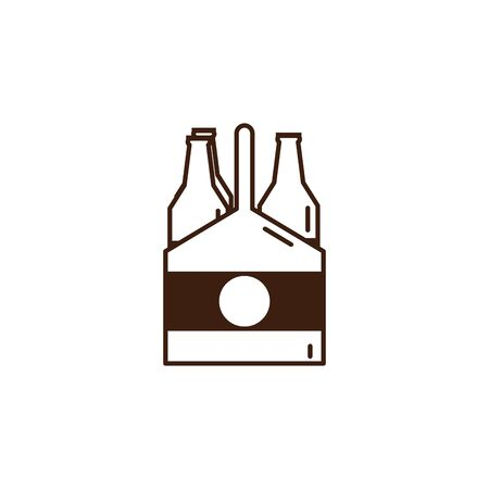 beers in basket oktoberfest celebration isolated icon vector illustration design