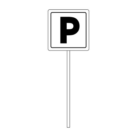 parking sign icon over white background, vector illustration