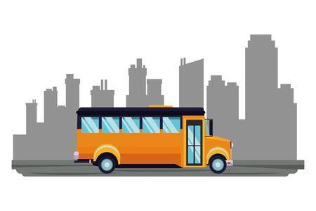 School bus public vehicle sideview over cityscape buildings background ,vector illustration graphic design. Ilustração