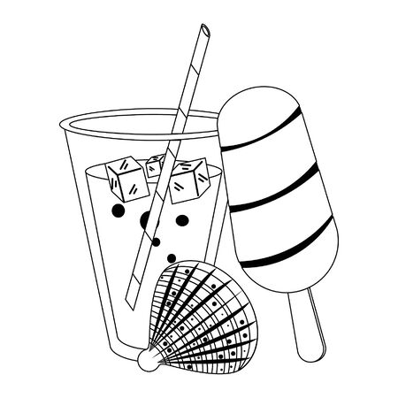 summer beach and vacation with ice lolly, tropical cocktail, shell icon cartoons in black and white vector illustration graphic design Stock Illustratie