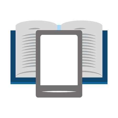 book and smartphone icon over white background, vector illustration Illusztráció