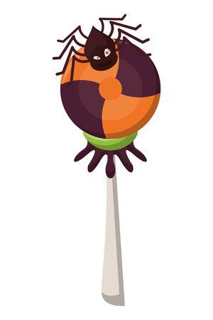 halloween sweet candie lollipop with spider vector illustration design