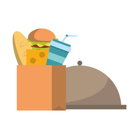 Food in paper bag and dish dome symbol vector illustration graphic design