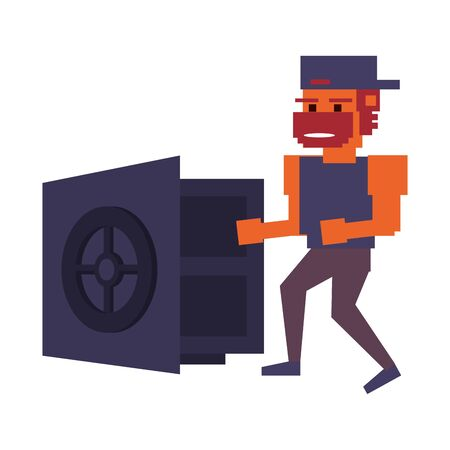 Retro videogame pixelated gangster and strongbox open cartoons isolated vector illustration graphic design Illusztráció