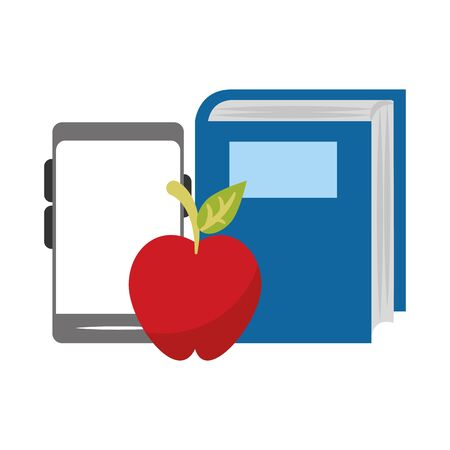 smartphone with apple and book over white background, vector illustration Illusztráció