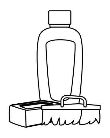 cleaning and hygiene equipment cleaning shampoo, scrum brush and soap bar in black and white vector illustration graphic design
