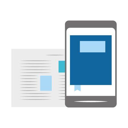 smartphone and document page over white background, vector illustration Illusztráció