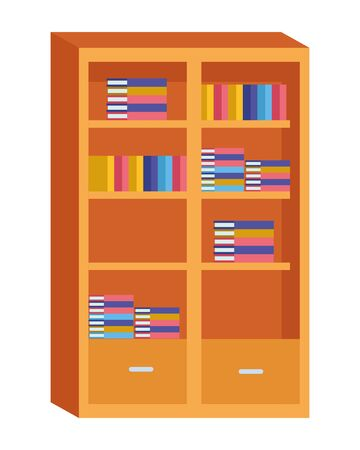Library with books and drawers ,vector illustration graphic design.