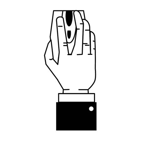 Hand using computer mouse cartoon isolated vector illustration graphic design Stock Illustratie