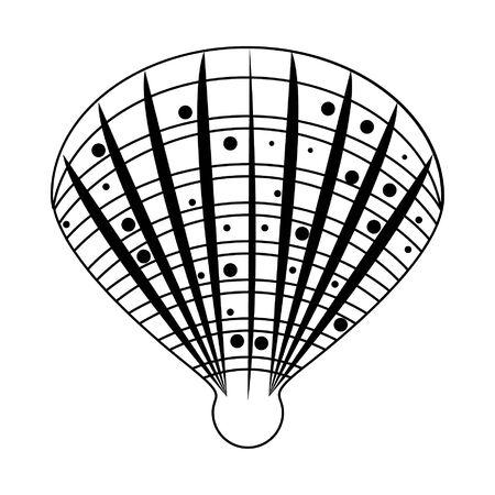 sea shells icon cartoon isolated in black and white vector illustration graphic design Stock Illustratie