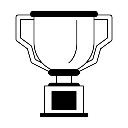 success trophy cartoon vector illustration graphic design in black and white
