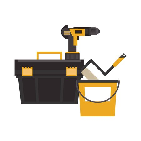 Construction tools toolbox and drill with paint bucket and rolling pin vector illustration graphic design Çizim