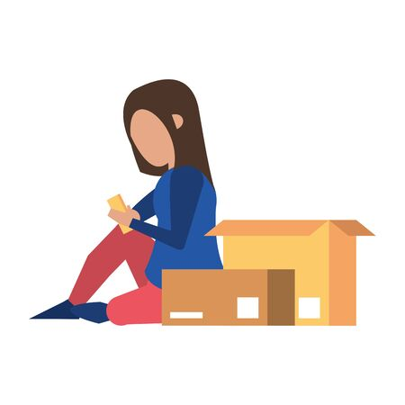 woman using smartphone technology for delivery and logistic tracing cartoon vector illustration graphic design