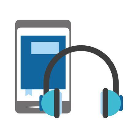 smartphone and headphones icon over white background, vector illustration Illusztráció