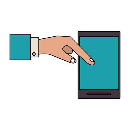 technology hardware smartphone device cartoon vector illustration graphic design Çizim