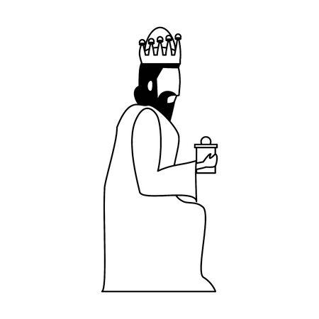 merry christmas nativity christian manger catholic religion december biblical wise man gaspar scene cartoon vector illustration graphic design Фото со стока - 131376552