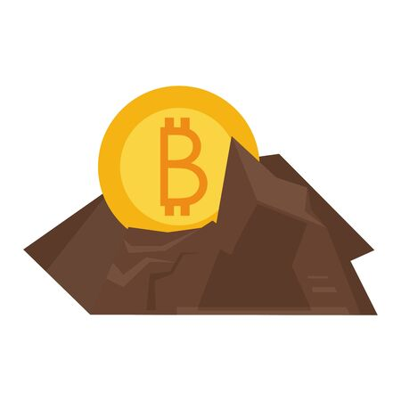 Bitcoin cryptocurrencycoin in rocks symbol isolated vector illustration graphic design Vector Illustration