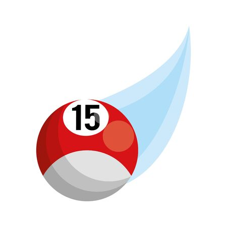 billiard ball flying out over white background, vector illustration