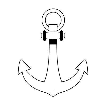 anchor marine navigation retro icon vector illustration design