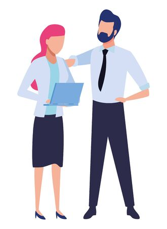 Business partners working with office laptop colorful isolated faceless avatar vector illustration graphic design Stock Illustratie