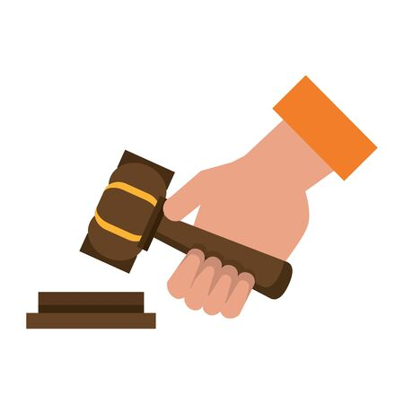 Justice hand with gavel cartoon isolated vector illustration