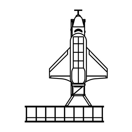 Spaceship on take off plataform symbol isolated vector illustration graphic design Ilustrace