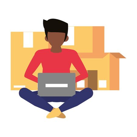 man using laptop computer technology for logistic and delivery tracing cartoon vector illustration graphic design Illustration