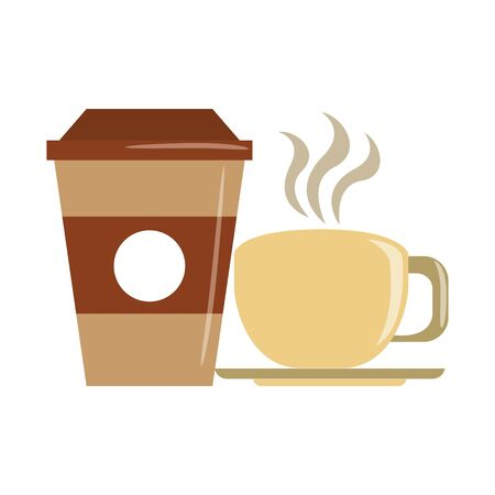 beverage liqueur and drink coffee cups icon cartoons vector illustration graphic design Çizim