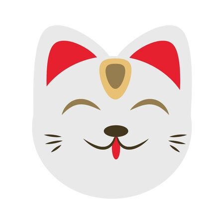Chinese lucky cat head icon over white background, vector illustration