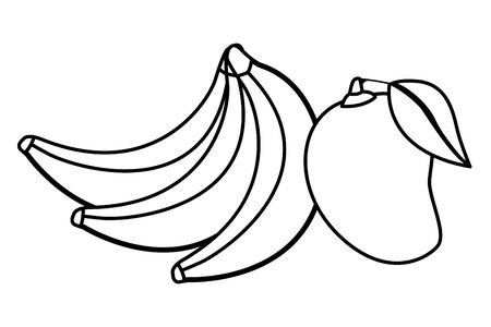 delicious mix of fruit with banana and mango icon cartoon in black and white vector illustration graphic design