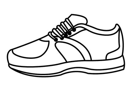 sneaker with shoelance icon cartoon isolated black and white vector illustration graphic design